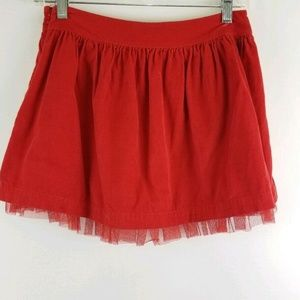 Gap Girl 12 Red Lined Tulle Corduroy Skirt